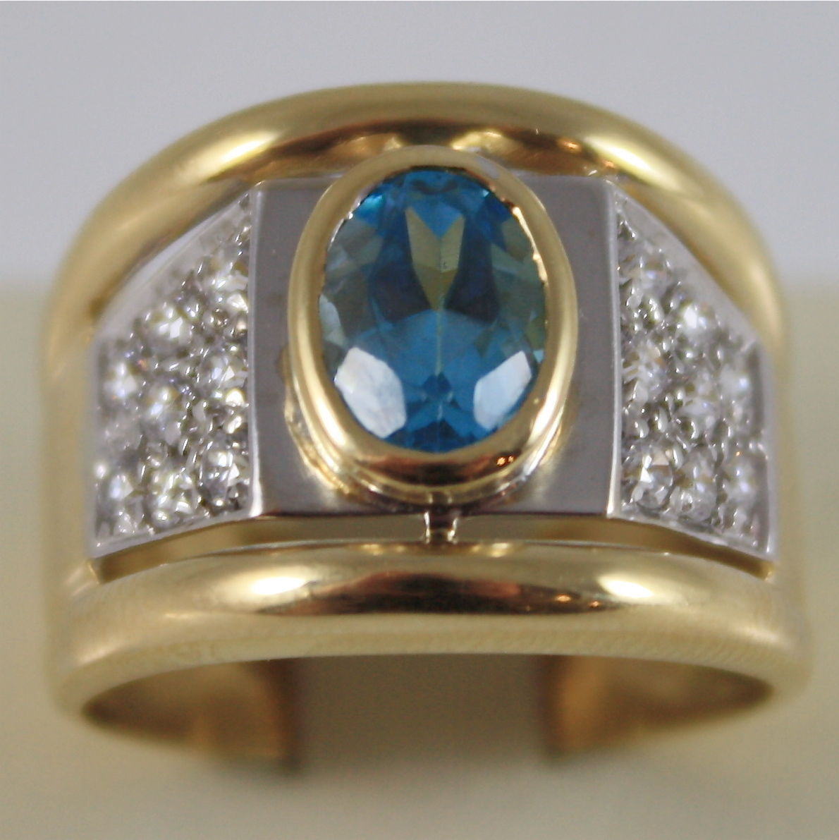 18K YELLOW WHITE SOLID GOLD 750 RING WITH BLUE TOPAZ AND ZIRCONIS MADE IN ITALY