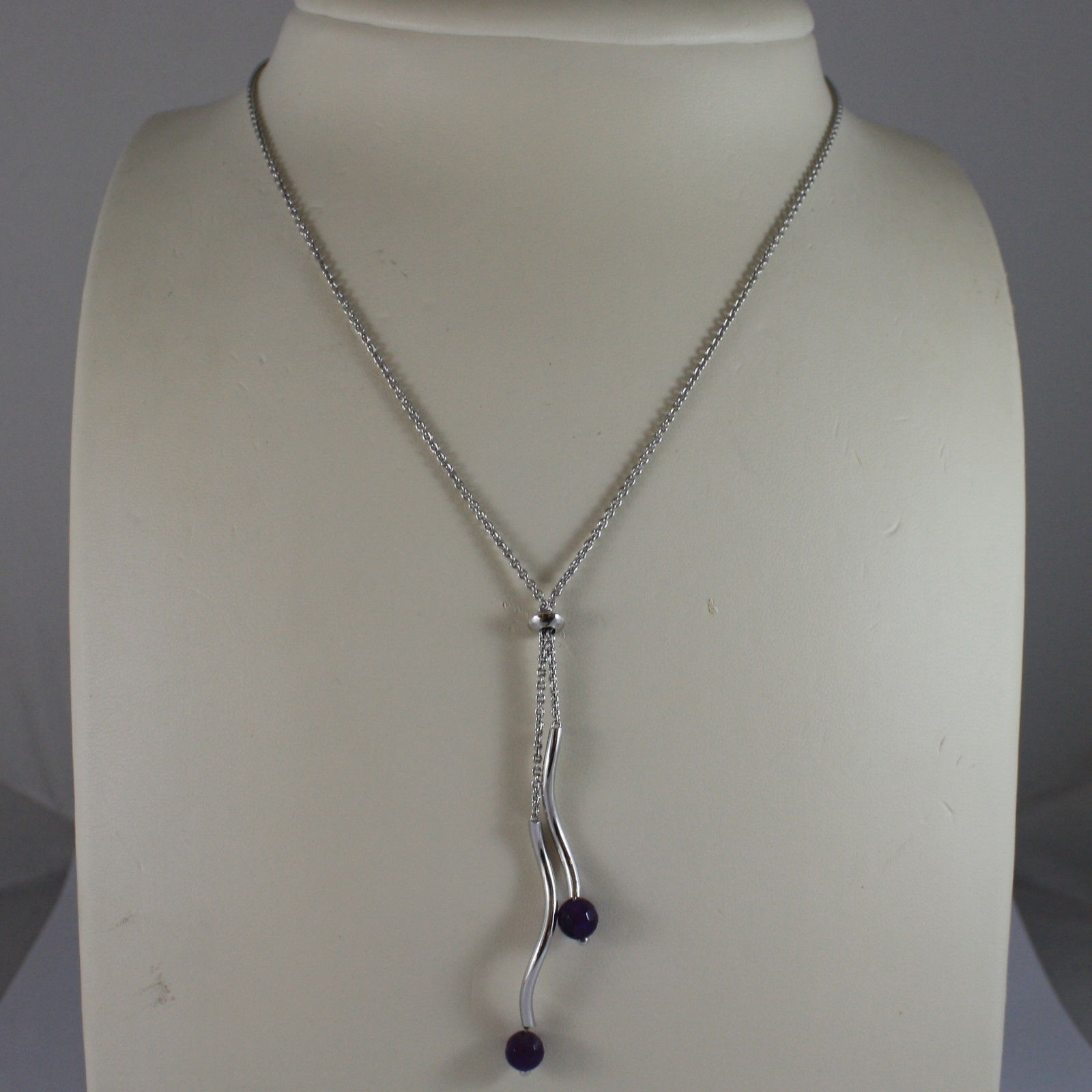.925 SILVER RHODIUM NECKLACE WITH AMETHYST