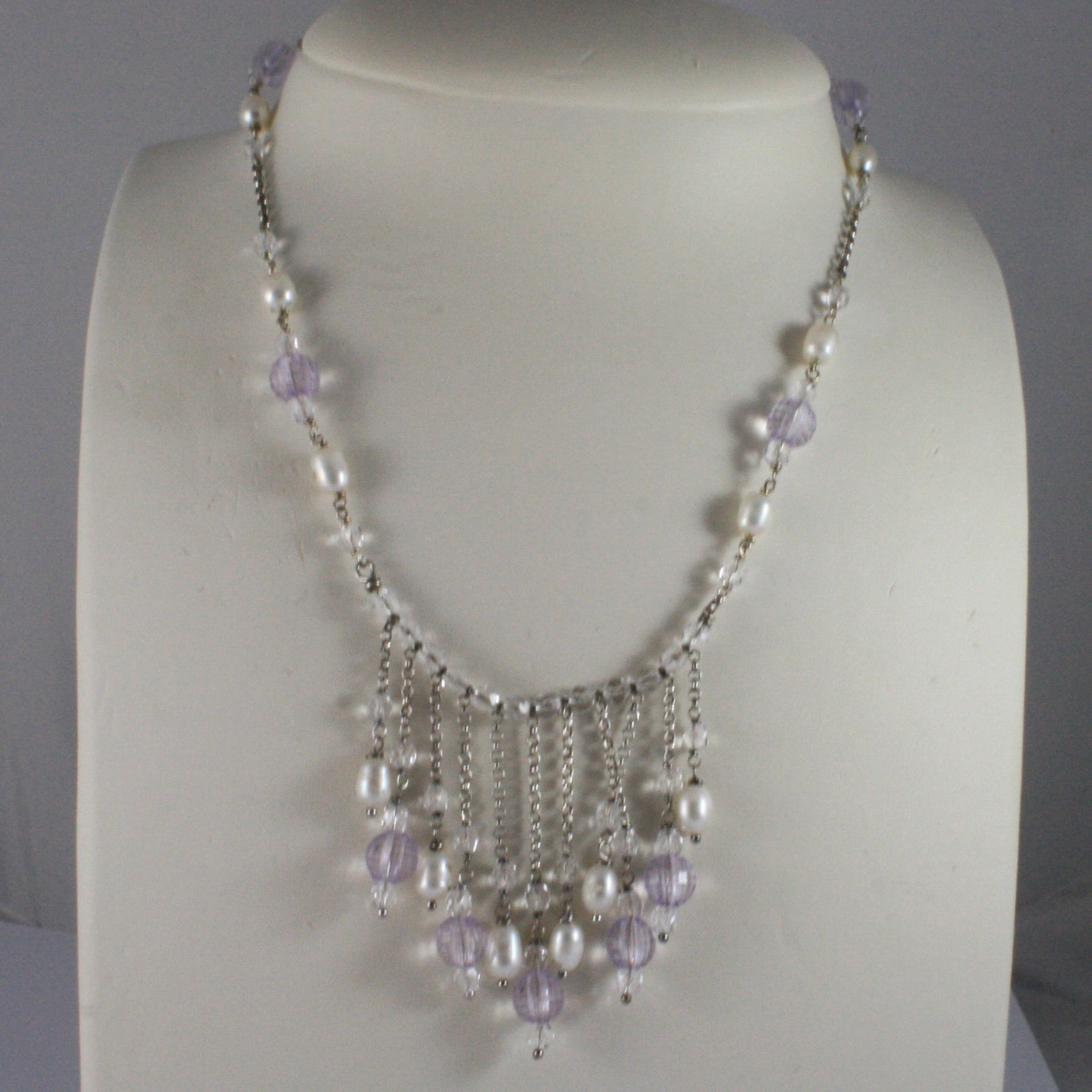 .925 SILVER RHODIUM NECKLACE WITH WHITE PEARLS AND TRANSPARENT AND LILAC CRISTAL