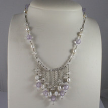 .925 SILVER RHODIUM NECKLACE WITH WHITE PEARLS AND TRANSPARENT AND LILAC CRISTAL image 1