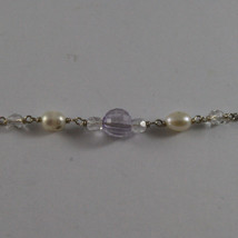 .925 SILVER RHODIUM NECKLACE WITH WHITE PEARLS AND TRANSPARENT AND LILAC CRISTAL image 4