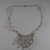 .925 SILVER RHODIUM NECKLACE WITH WHITE PEARLS AND TRANSPARENT AND LILAC CRISTAL image 2