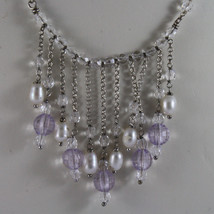 .925 SILVER RHODIUM NECKLACE WITH WHITE PEARLS AND TRANSPARENT AND LILAC CRISTAL image 3