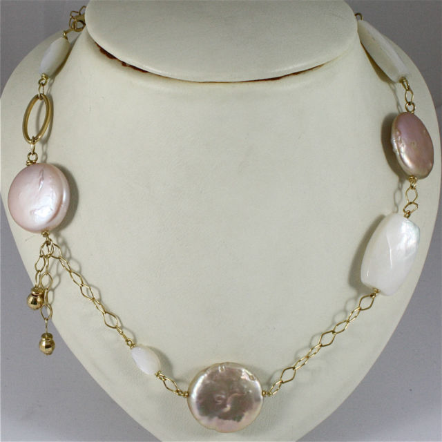 18K 750 YELLOW GOLD NECKLACE WITH MOTHER OF PEARL AND PEARL DISC, MADE IN ITALY
