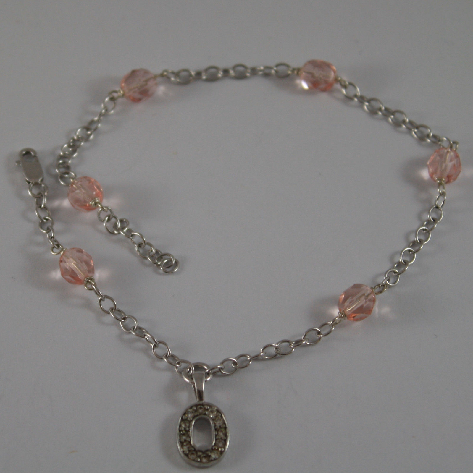 ".925 RHODIUM SILVER BRACELET/ ANKLE WITH INITIAL "" O "" AND PINK CRYSTALS"
