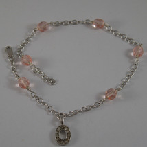 """.925 RHODIUM SILVER BRACELET/ ANKLE WITH INITIAL """" O """" AND PINK CRYSTALS image 1"""