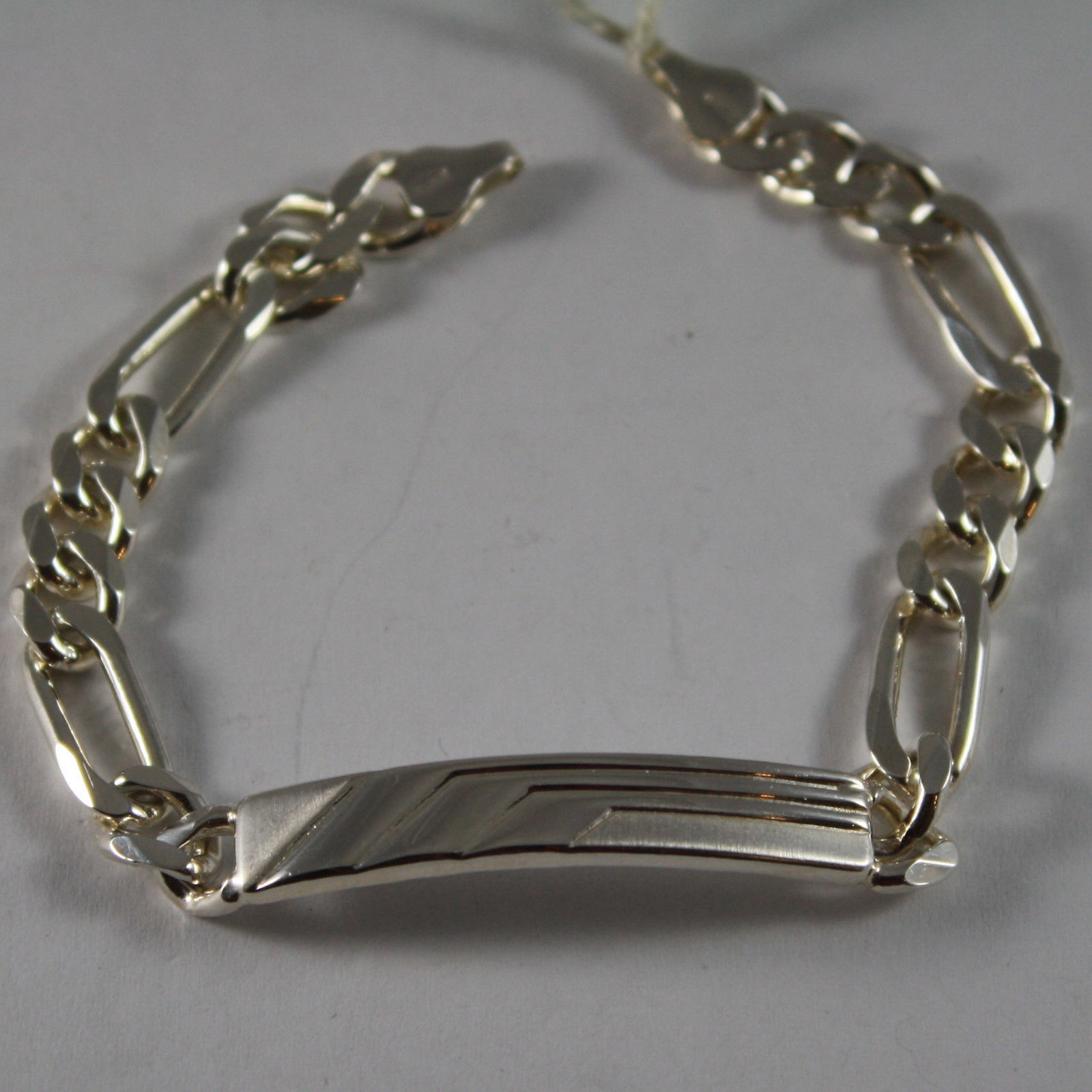 .925 RHODIUM SILVER BRACELET WITH CENTRAL PLATE