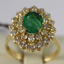 18K YELLOW GOLD 750 RING WITH DIAMONDS AND GREEN EMERALD, FLOWER MADE IN ITALY