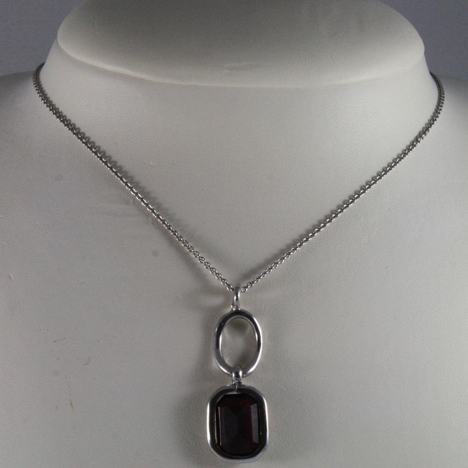 .925 SILVER RHODIUM NECKLACE WITH RED CRYSTALS AND SILVER OVAL