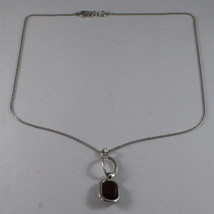 .925 SILVER RHODIUM NECKLACE WITH RED CRYSTALS AND SILVER OVAL image 2