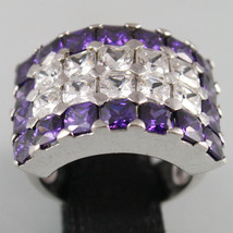 925 RHODIUM SILVER ETERNITY RING, PURPLE AND WHITE CRYSTAL, RADIANT CUT