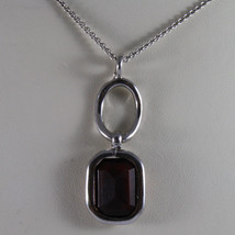.925 SILVER RHODIUM NECKLACE WITH RED CRYSTALS AND SILVER OVAL image 3