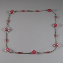 .925 SILVER RHODIUM NECKLACE WITH FACETED PINK CRYSTALS image 2