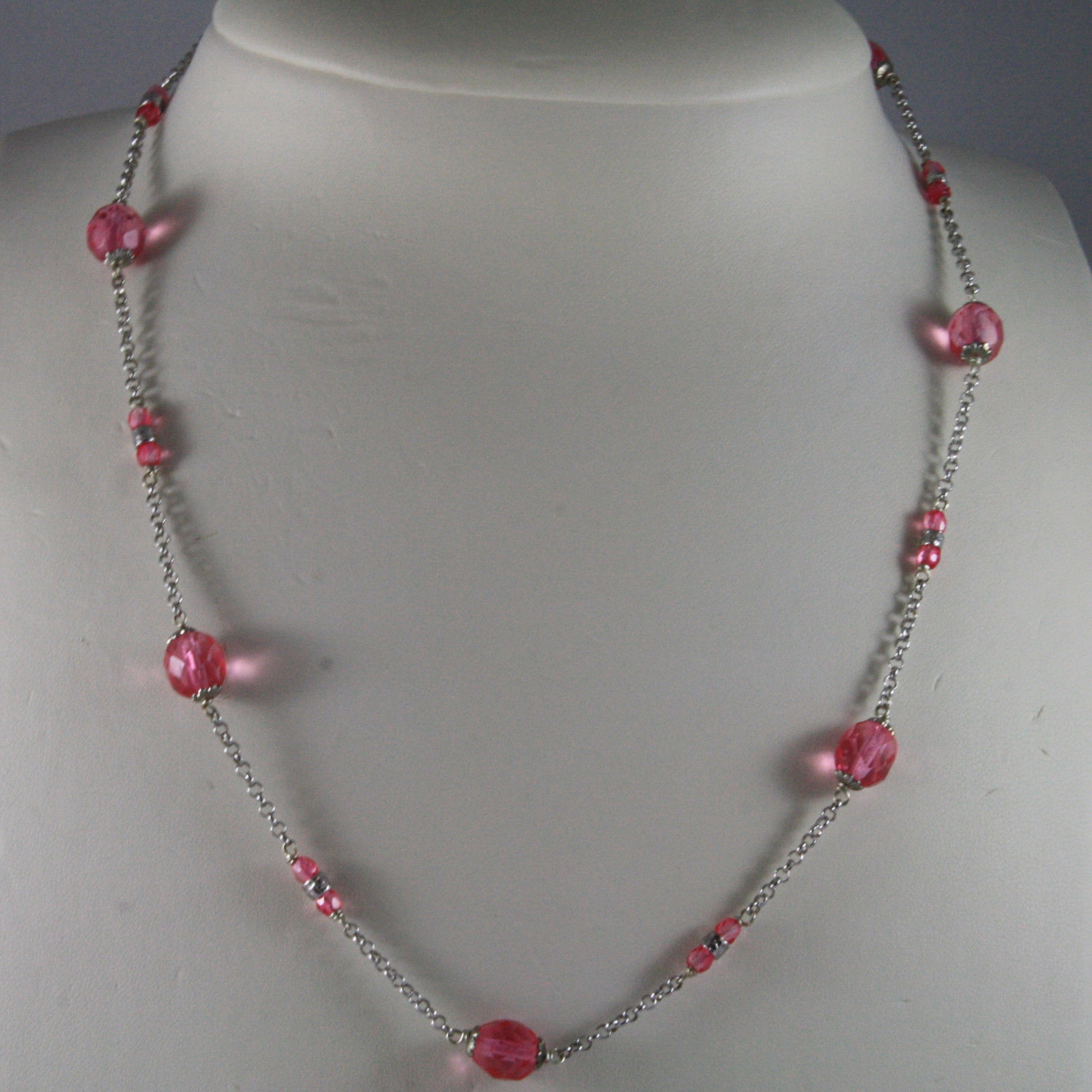 .925 SILVER RHODIUM NECKLACE WITH FACETED PINK CRYSTALS