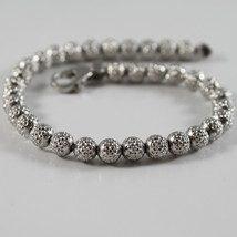 925 RODIUM SILVER BRACELET OFFICINA BERNARDI WITH FACETED BALLS MADE IN ITALY