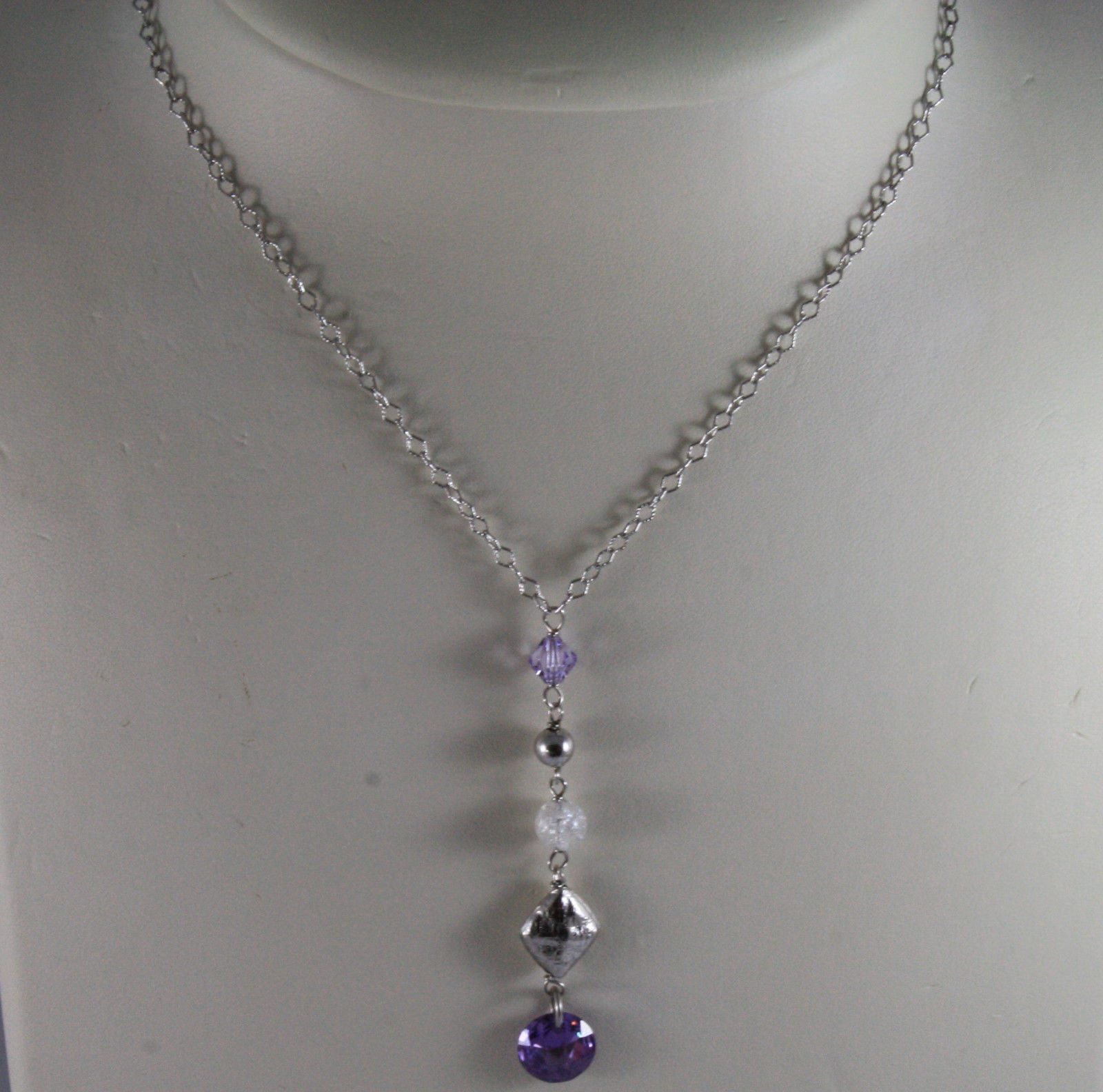 .925 SILVER RHODIUM NECKLACE WITH PURPLE AND TRANSPARENT CRYSTALS AND RHOMBUS
