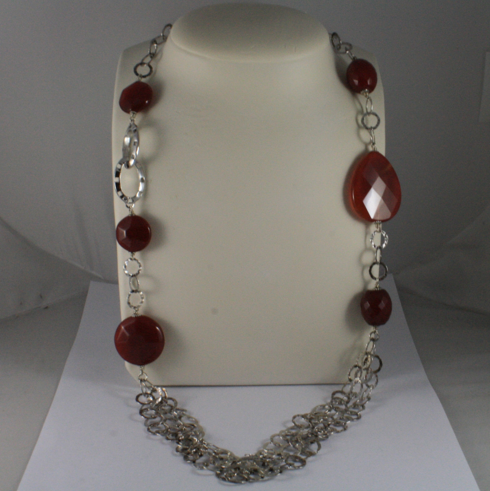 .925 SILVER RHODIUM NECKLACE WITH RED CARNELIAN, ROUND MESH LENGTH  41,34