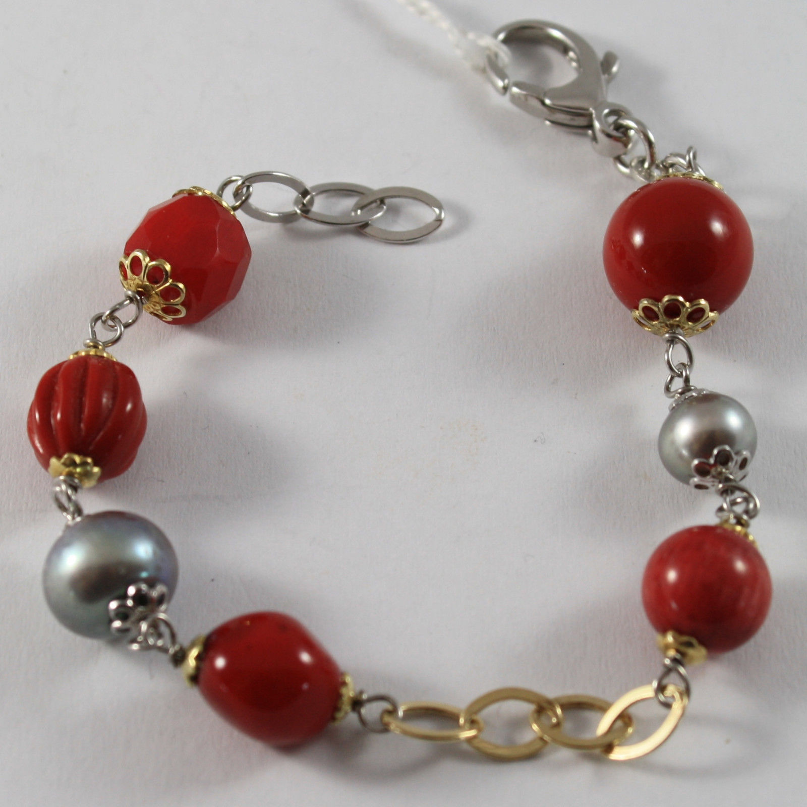 .925 RHODIUM SILVER GOLD PLATED BRACELET WITH GRAY PEARLS AND CORAL BAMBOO