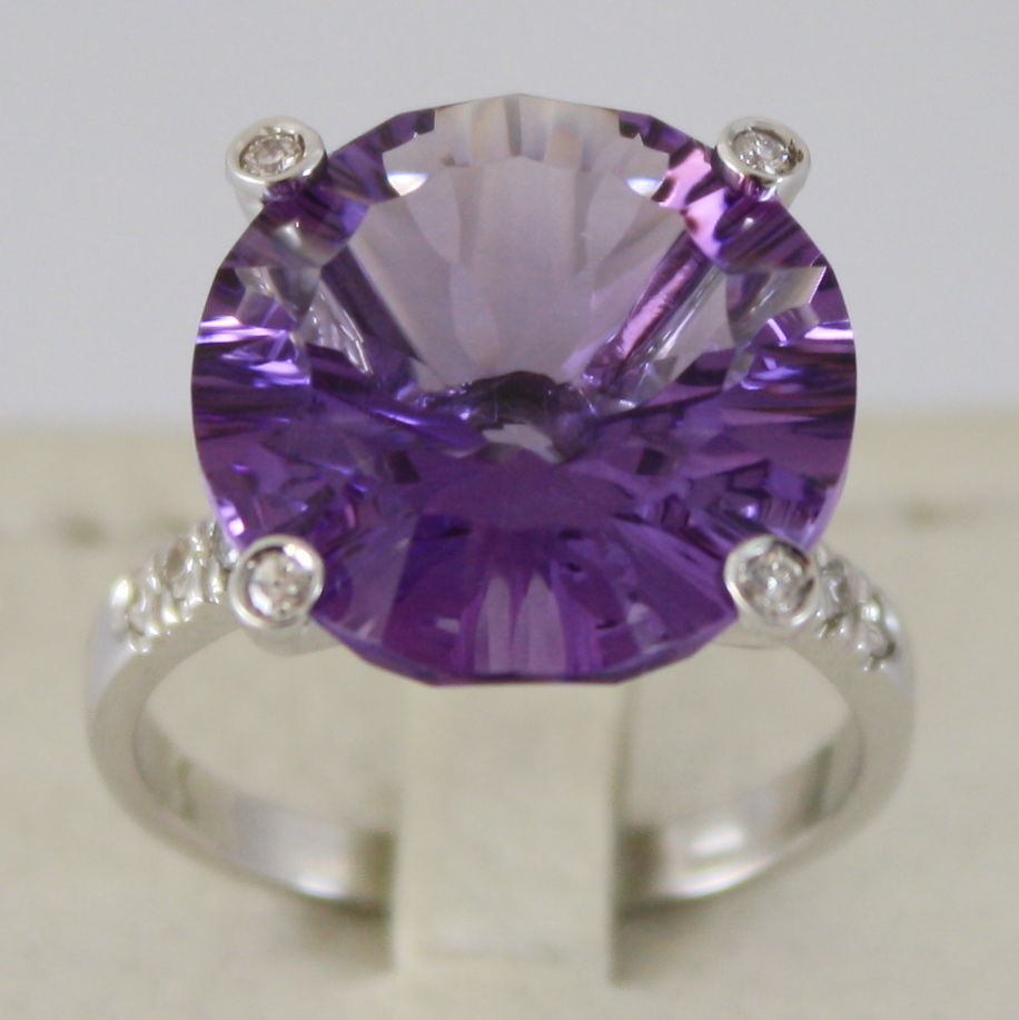 18K WHITE GOLD RING DIAMONDS ct0.21 AMETHYST ct11.50 AMAZING CUT, MADE IN ITALY