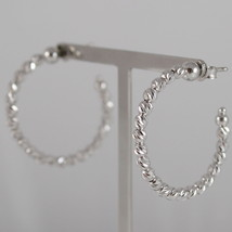 925 RODIUM SILVER OFFICINA BERNARDI EARRINGS, FACETED BALLS, MADE IN ITALY, 3 CM