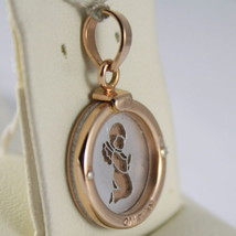 SOLID 18K WHITE & ROSE GOLD MEDAL PENDANT GUARDIAN ANGEL ENGRAVING MADE IN ITALY image 1