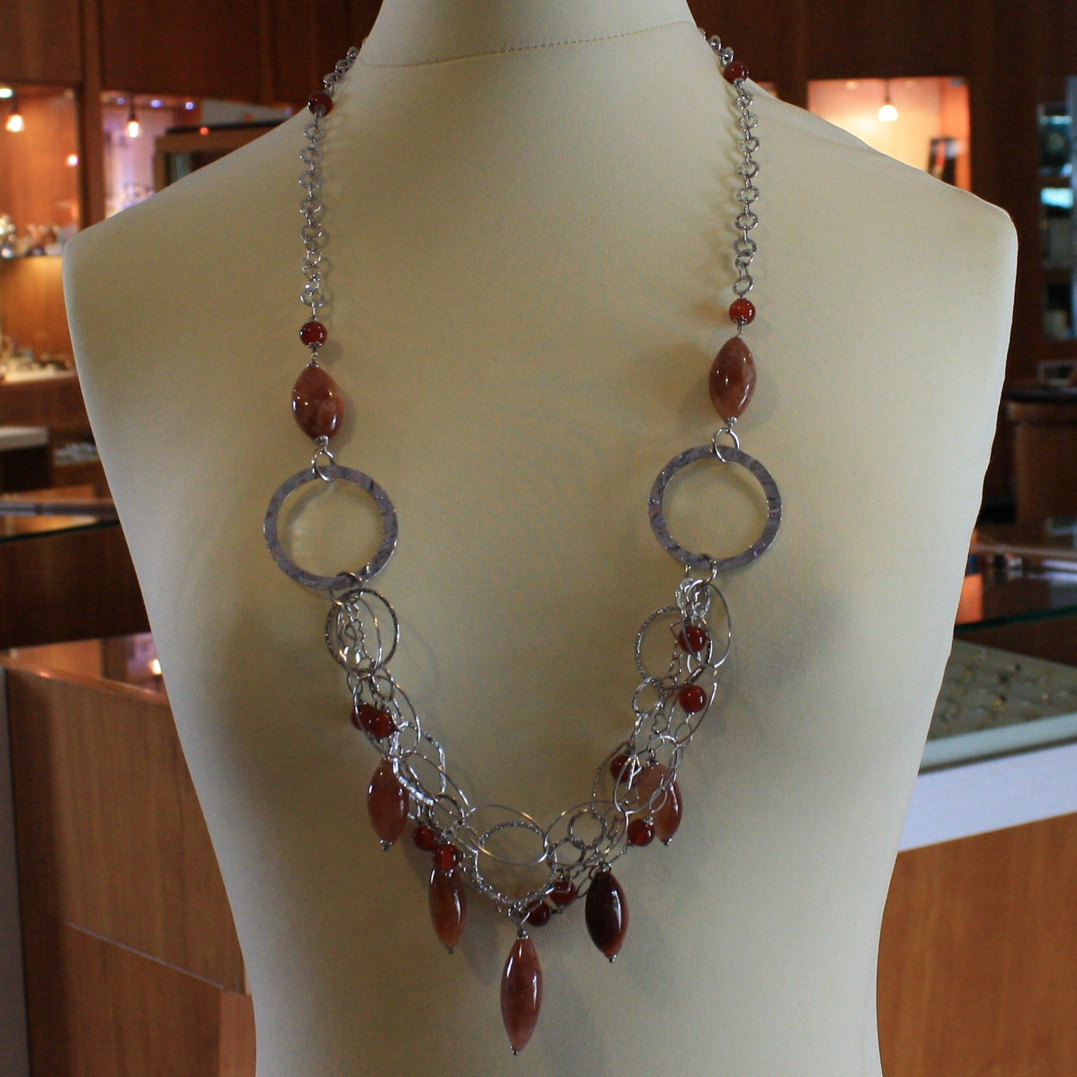 .925 SILVER RHODIUM MULTI STRAND NECKLACE WITH AGATE, CARNELIAN AND CIRCLES