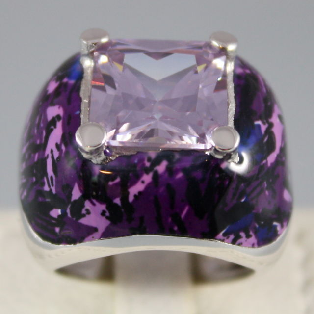 925 SILVER GLAZED RING, PURPLE CRISTAL RADIANT CUT