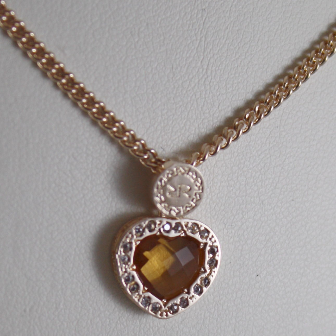 YELLOW BRONZE NECKLACE HEART B14KOC24 & ORANGE QUARTZ BY REBECCA MADE IN ITALY