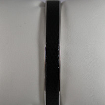 .925 RHODIUM SILVER RIGID BRACELET WITH BLACK LEATHER INSERTS image 2