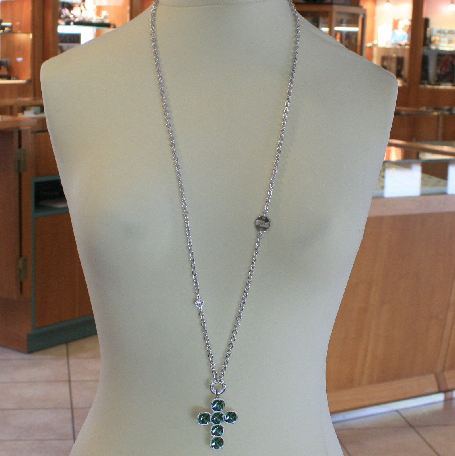 LONG RHODIUM BRONZE REBECCA NECKLACE BIG CROSS GREEN CRYSTAL CT 21 MADE IN ITALY