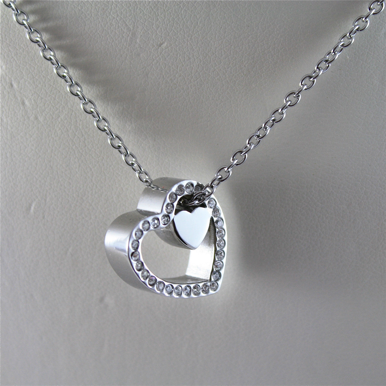S'AGAPO' NECKLACE, 316L STEEL, HEART IN HEART, FACETED CRYSTALS.