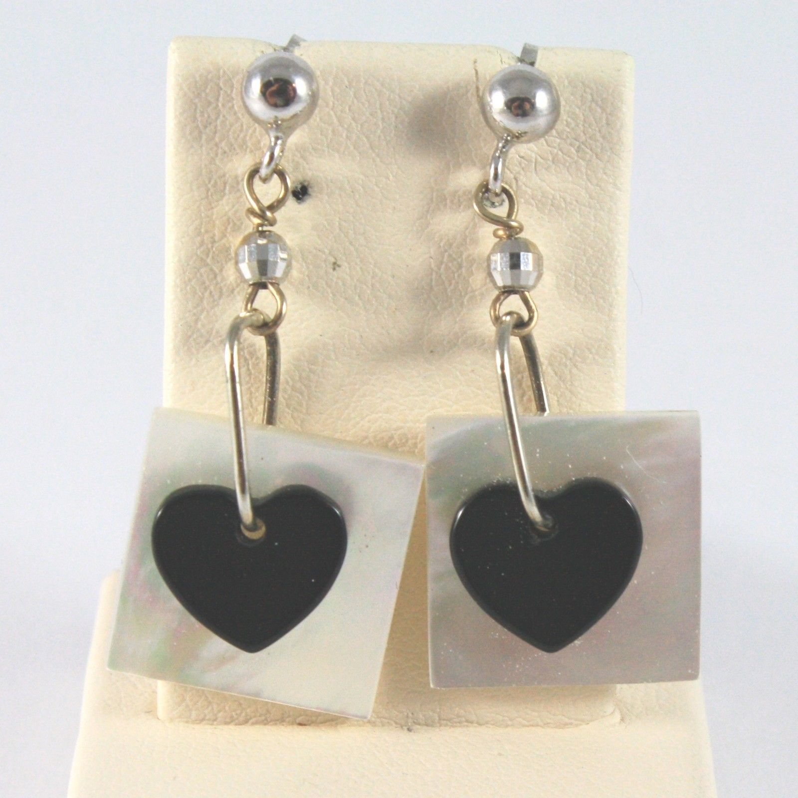 18K SOLID WHITE GOLD EARRINGS WITH MOTHER OF PEARL AND ONYX MADE IN ITALY 18K