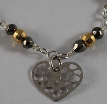 .925 RHODIUM SILVER BRACELET WITH GOLDEN AND BURNISHED SPHERES AND HEART image 2