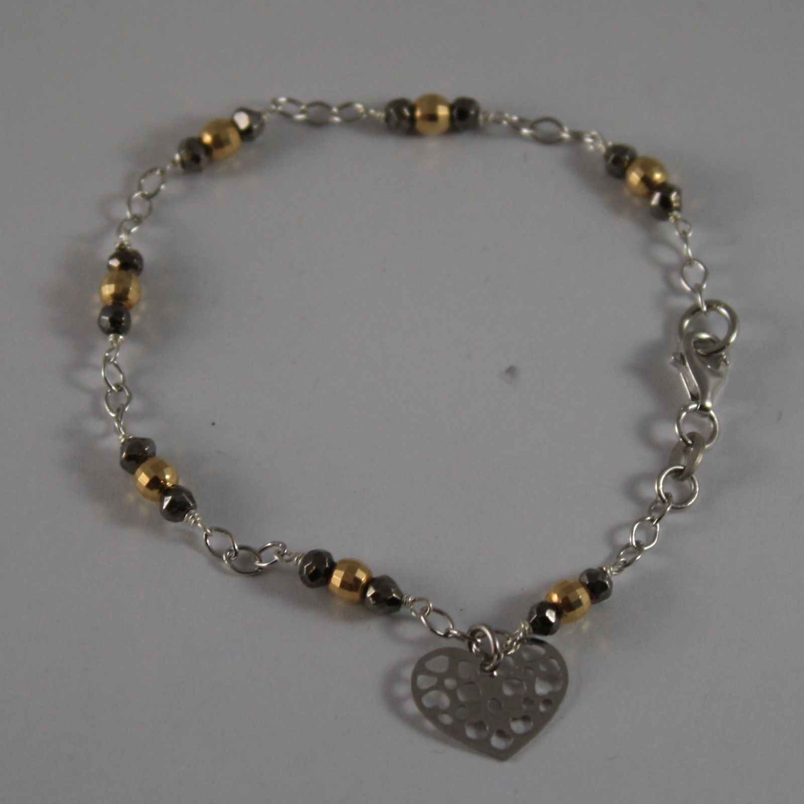 .925 RHODIUM SILVER BRACELET WITH GOLDEN AND BURNISHED SPHERES AND HEART