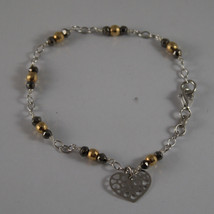 .925 RHODIUM SILVER BRACELET WITH GOLDEN AND BURNISHED SPHERES AND HEART image 1