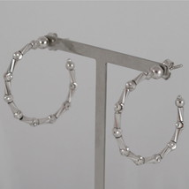 925 RODIUM SILVER OFFICINA BERNARDI EARRINGS, FACETED BALLS MADE IN ITALY 3 CM