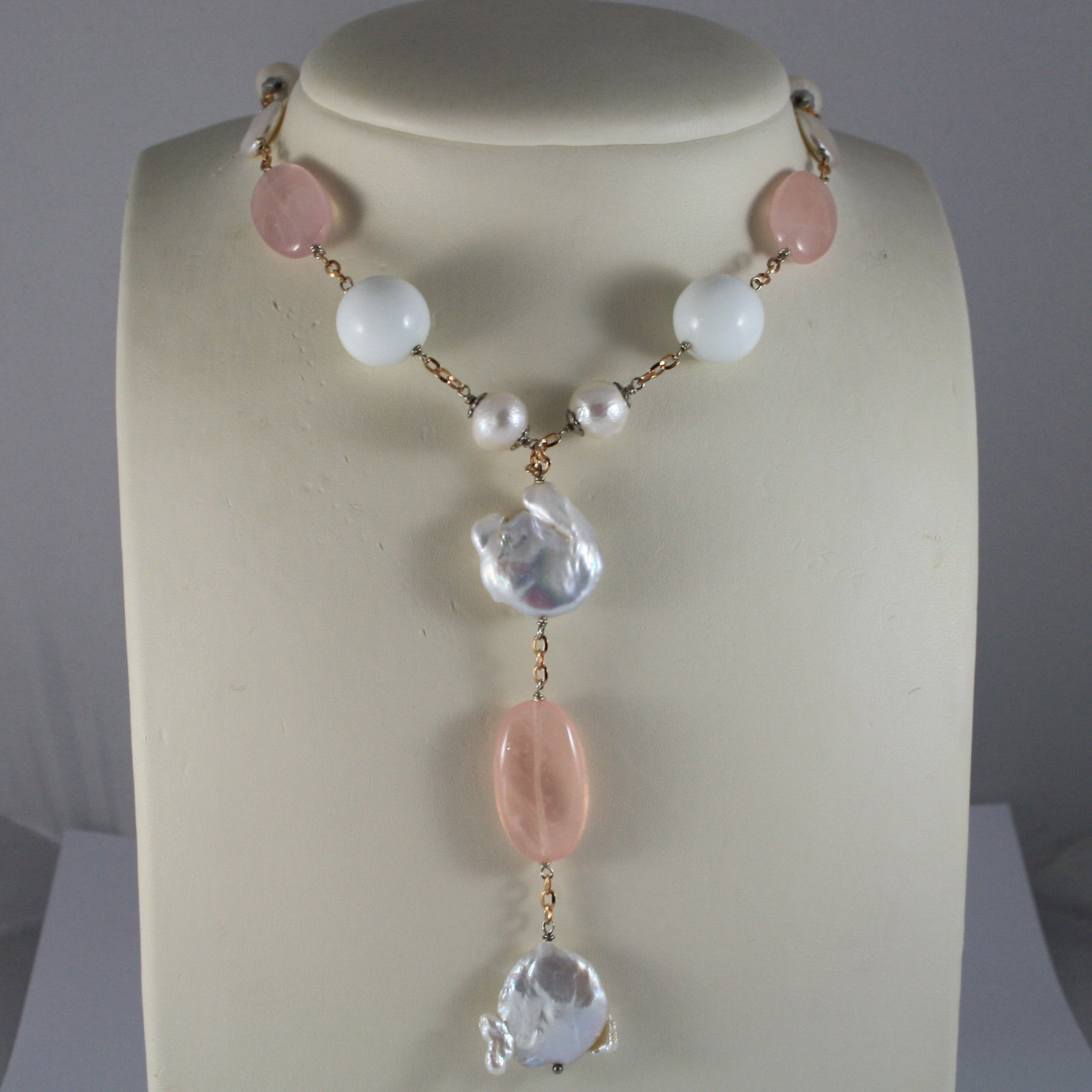 .925 RHODIUM SILVER ROSE GOLD PLATED NECKLACE WITH PINK QUARTZ, PEARL AND AGATE