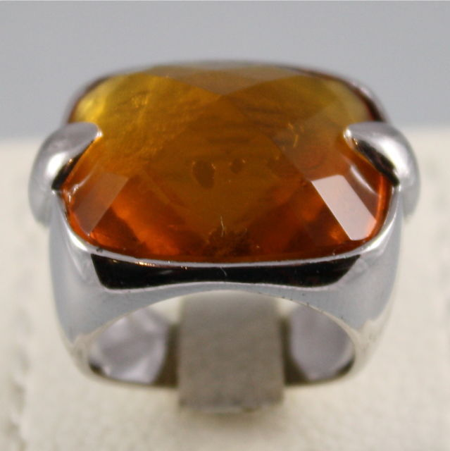 925 RHODIUM SILVER RING WITH ORANGE FACETED CRISTAL