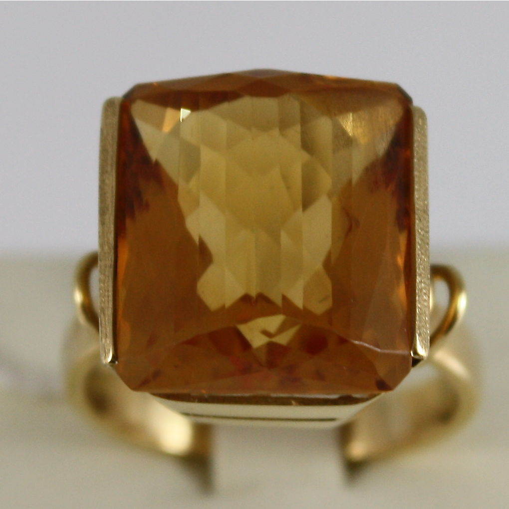 18K YELLOW GOLD 750 RING WITH BIG CITRINE 16 CARAT MADE IN ITALY CUSHION CUT