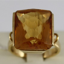 18K YELLOW GOLD 750 RING WITH CITRINE 16 CARAT MADE IN ITALY CUSHION CUT