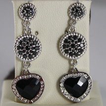 BRONZE EARRINGS HEART, BLACK CUBIC ZIRCONIA B14OBN44, BY REBECCA MADE IN ITALY