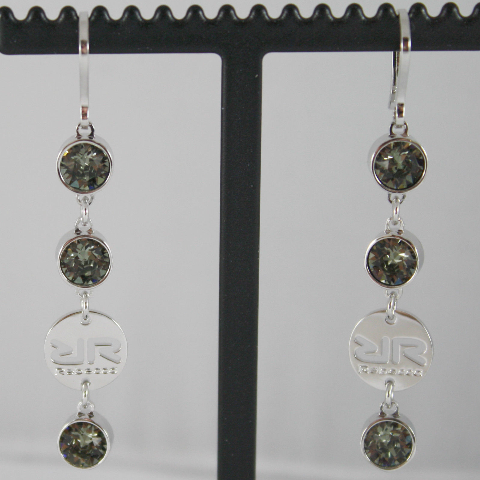 RHODIUM BRONZE REBECCA PENDANT EARRINGS WITH GRAY CRYSTAL CT 6.00 MADE IN ITALY