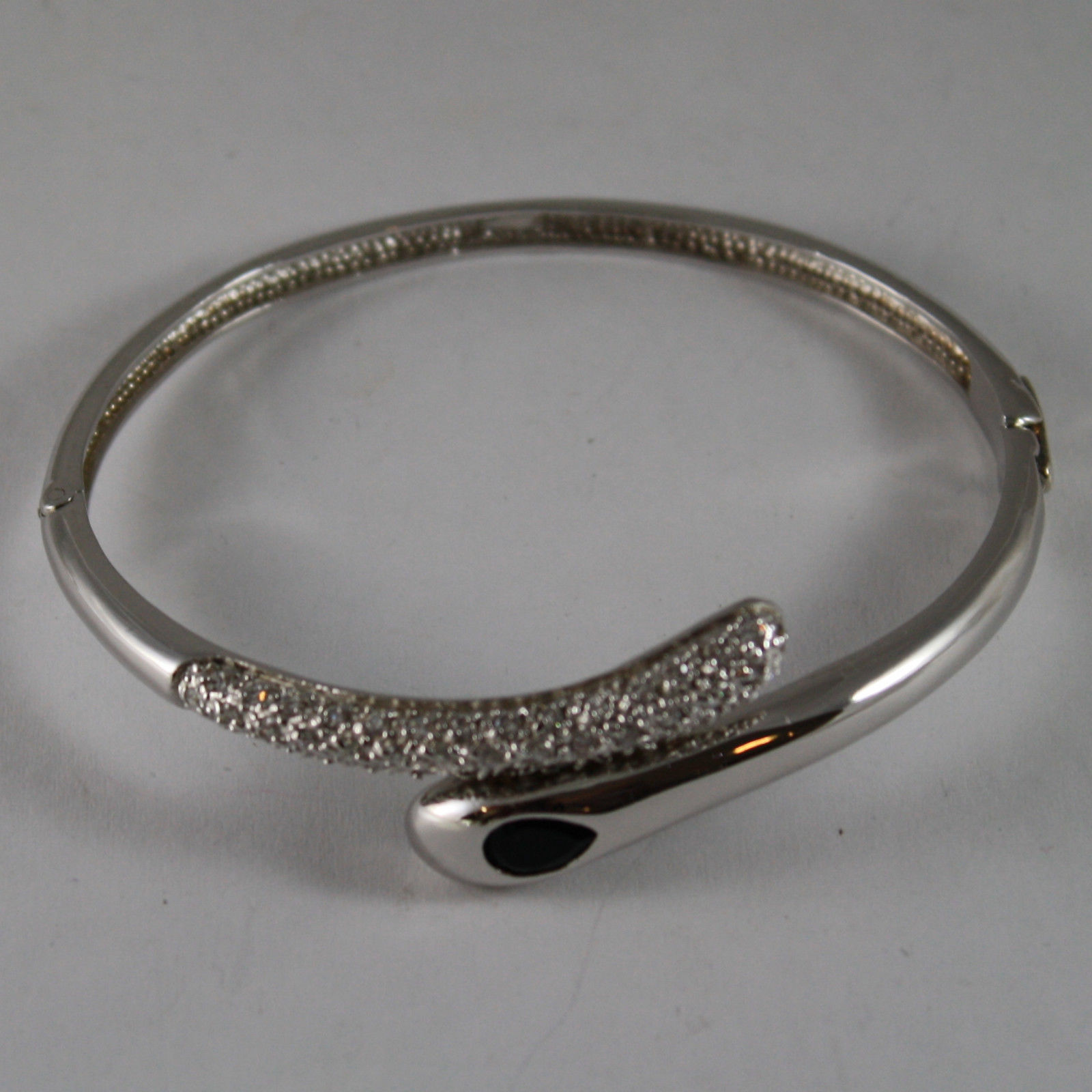 .925 RHODIUM SILVER RIGID BRACELET WITH BLACK CRYSTALS AND ZIRCONS
