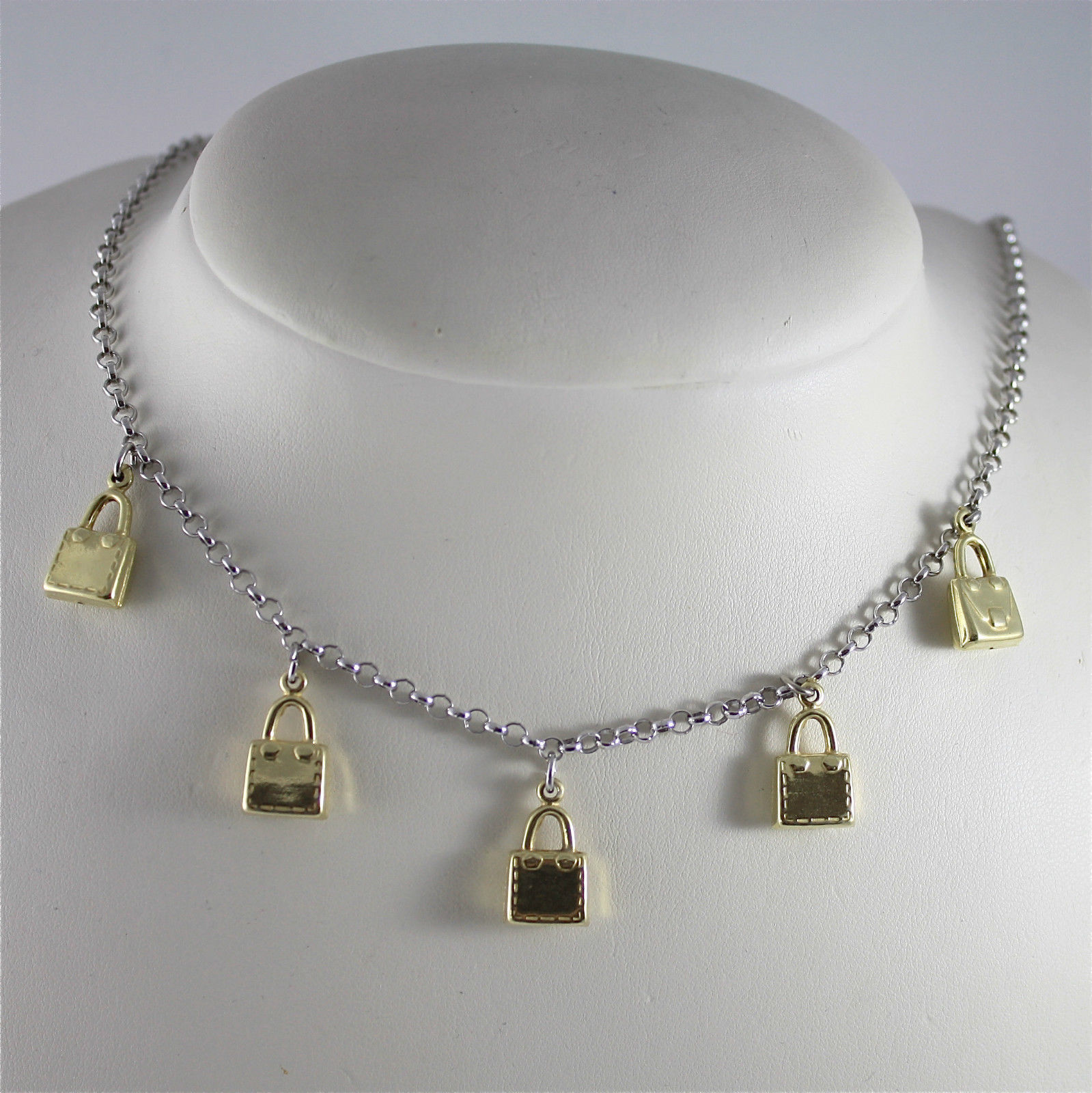 ".925 RHODIUM SILVER NECKLACE WITH LITTLE ""HANDBAG CHARMS"", GOLD PLATED"