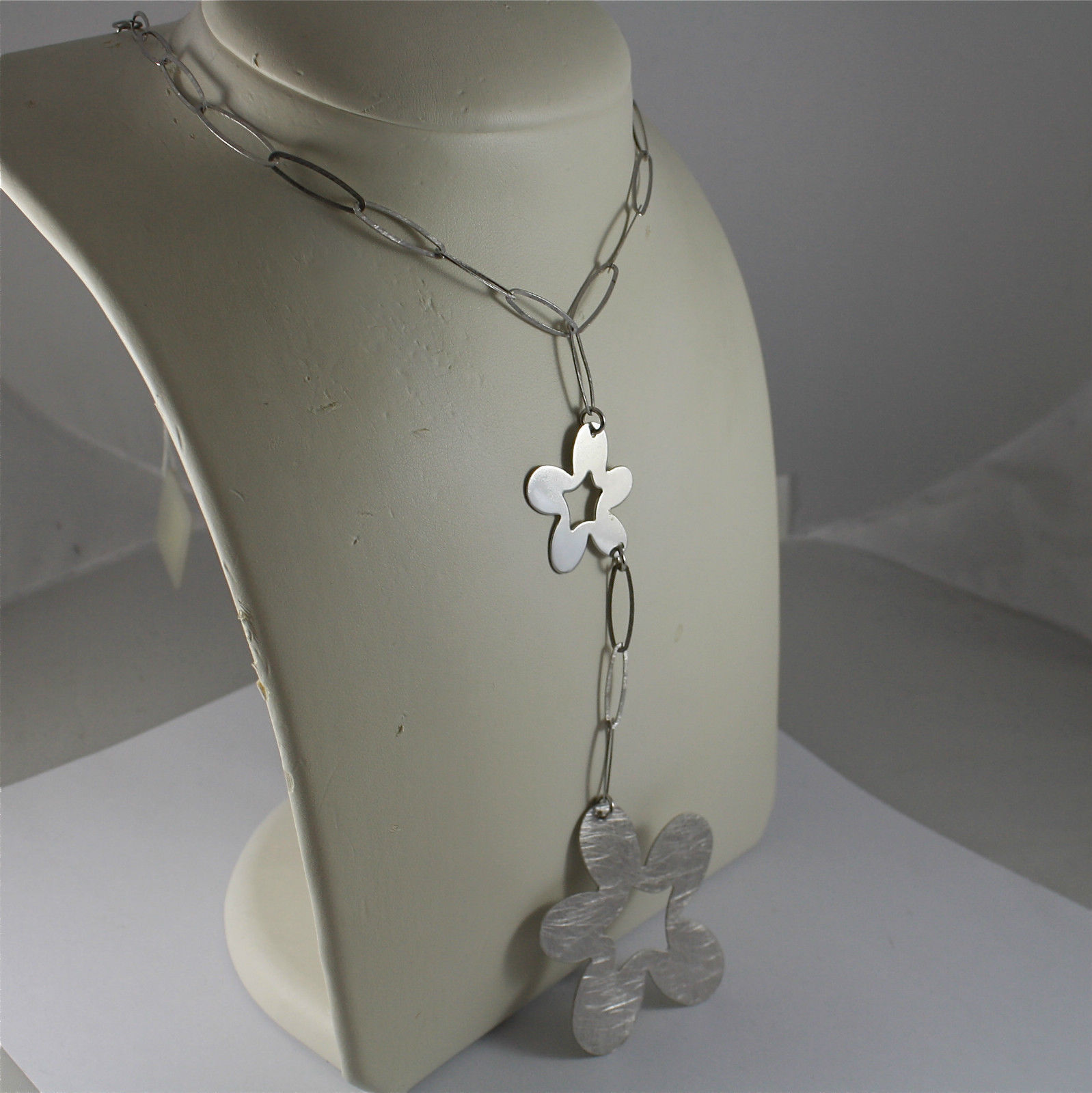 .925 RHODIUM SILVER NECKLACE, SCARF, DOUBLE FLOWER PENDANT, RAW SATIN PROCESSED.