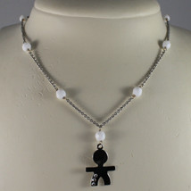 .925 SILVER RHODIUM NECKLACE WITH WHITE AGATE AND LITTLE BOY WITH 3 CRYS... - $94.05
