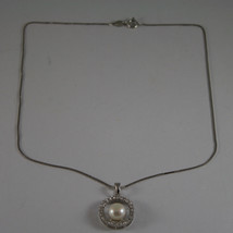.925 SILVER RHODIUM NECKLACE WITH SYNTHETIC WHITE PEARL AND ZIRCONIA 15,75 IN image 2