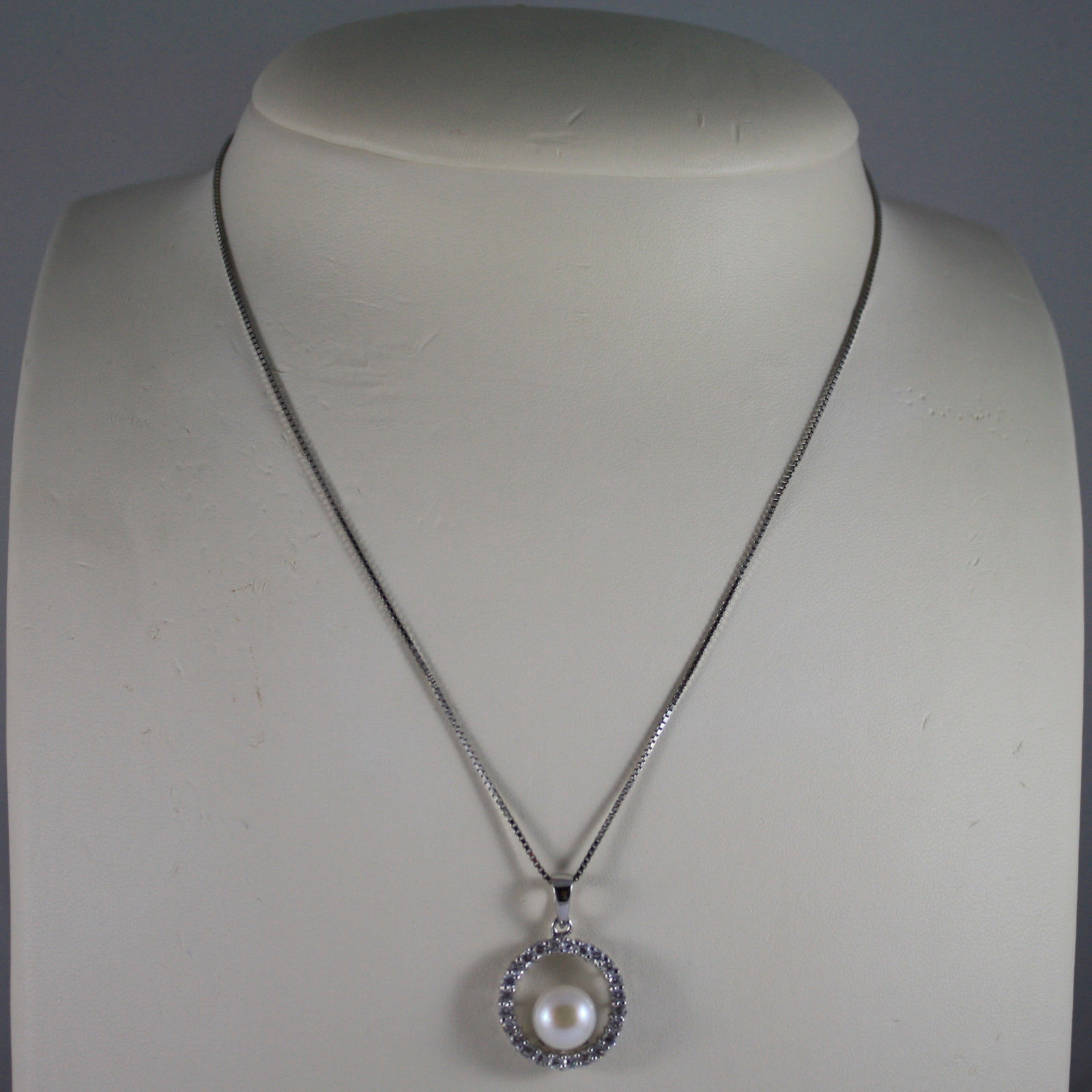.925 SILVER RHODIUM NECKLACE WITH SYNTHETIC WHITE PEARL AND ZIRCONIA 15,75 IN