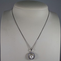 .925 SILVER RHODIUM NECKLACE WITH SYNTHETIC WHITE PEARL AND ZIRCONIA 15,75 IN image 1