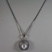 .925 SILVER RHODIUM NECKLACE WITH SYNTHETIC WHITE PEARL AND ZIRCONIA 15,75 IN image 3